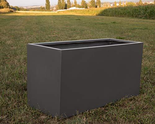 Pflanztrog Blumentrog Raumteiler Fiberglas rechteckig LxBxH anthrazit metallic 108x40x50cm