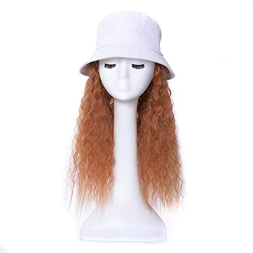 Jsmhh Baseball Cap Wig Hat Fluffy Natural Wave Wig Women's Baseball Cap Men Funny Peaked Cap Wig Decoration Sun Hat Long Curly Hair (Color : 27'Schwarzer Hut, Size : 14inch)