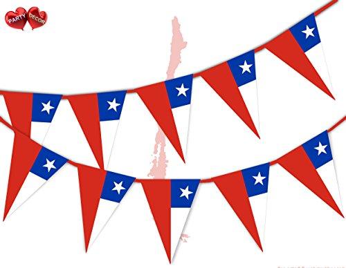 Party Decor Wimpelkette mit Chile-Flagge, patriotisch, 15 dreieckige Flaggen für garantiert einfache stilvolle Party-Dekoration