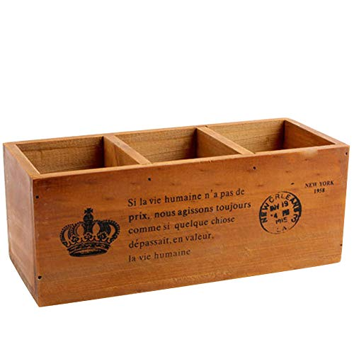 Coideal Wood Desktop Storage Organizer Vintage Old Color/Remote Control Caddy Holder Wood Box Container for Desk, Office Supplies, Home, End Table (24 x 10 x 10 cm)