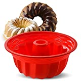 Aokinle Silicone Baking Molds, European Grade Fluted Round Cake Pan, Non-Stick Cake Pan for Jello,Buntcake,Gelatin,Bread, 9.45 Inches Tube Bakeware Red