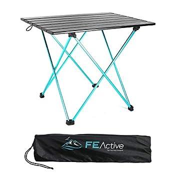 FE Active Table Pliante Compacte en Auminium - Conçue comme Table de Camping Portable Compacte et Légère, pour la Plage, la Randonnée, Le Trekking, Le Camping, la Pêche   Conçue en Californie
