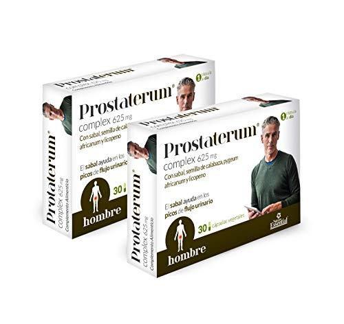 Prostaterum® 625 mg. 30 capsulas vegetales con sabal, semilla de calabaza, pygeum africanum y licopeno. (Pack 2 unid.)
