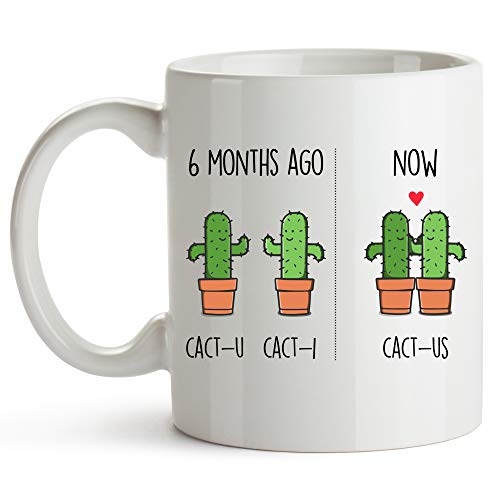 YouNique Designs 6 Month Anniversary Mug, 11 Ounces, Funny 6 Month Anniversary Coffee Mug for Boyfriend and Girlfriend, 6 Month Dating Anniversary Cup, Sixth Month Dating Anniversary (White)