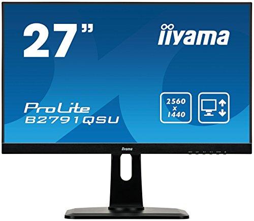 iiyama ProLite B2791QSU-B1 68,5cm (27Zoll) LED-Monitor QHD (DVI, HDMI, DisplayPort, USB3.0, FreeSync, Höhenverstellung, Pivot) schwarz