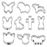 Wisolt Moldes para galletas, 10 unidades, juego de cortadores de galletas con forma de Pascua