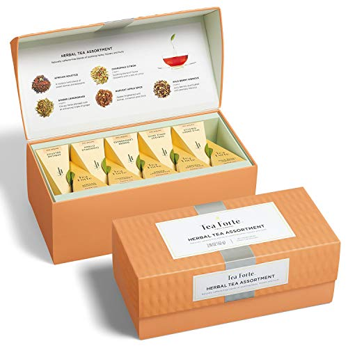 Tea Forte Classic Herbal Tea Presentation Box Tea Sampler Gift Set, 20 Assorted Variety Handcrafted Pyramid Tea Infuser Bags, Naturally Decaffeinated Herbal Teas