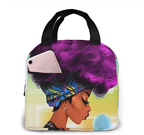 Hermosa mujer africana hermosa mujer reutilizable bolsa de almuerzo con aislamiento enfriador caja de asas preparación de comidas para hombres y mujeres trabajo picnic o viaje