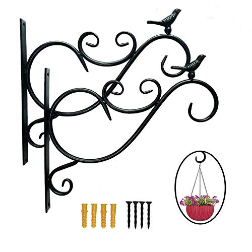 Post Hanging Basket Bracket 12 Inch - Sturdy and Durable Hanging Basket Hooks Stand - Wrought Iron Garden Wall Brackets - Multipurpose Hanger For Indoor and Outdoor Decor - Black
