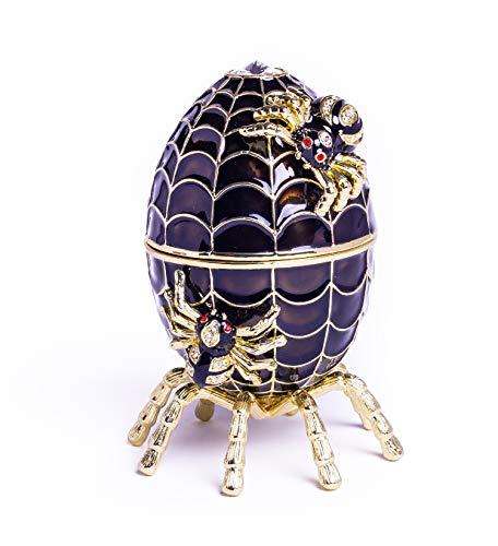 Huevo de Fabergé negro tocando música araña decorada con arañas caja de...