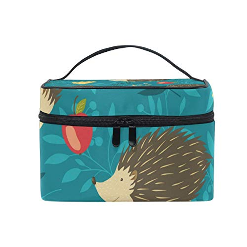 Forest Hedgehog Cosmetic Bag Toiletry Travel Makeup Case Handle Pouch Multi-Function Organizer for Women