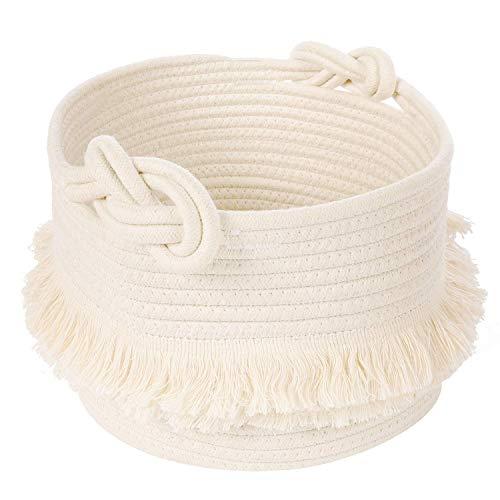 INDRESSME Aufbewahrungskorb Baumwoll Seil Korb Wäschekorb für Kleidung Decken im Wohnzimmer Speicher von Spielzeug Kissen im Kinderzimmer, D24 × H18 cm