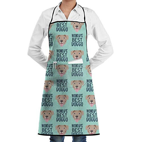 DG1S2A11A Worlds Best Doggo Fawn Pitbull – Fawn Pit Bull – Perro – Mintdelns Cocina Chef Bib – Dinner is Coming Profesional para barbacoa/hornear/cocinar para hombres y mujeres
