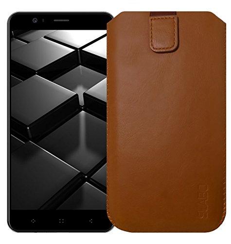 Slabo Schutzhülle für Elephone P8 Mini Schutztasche Handyhülle Hülle mit Magnetverschluss aus Kunstleder - BRAUN | Brown