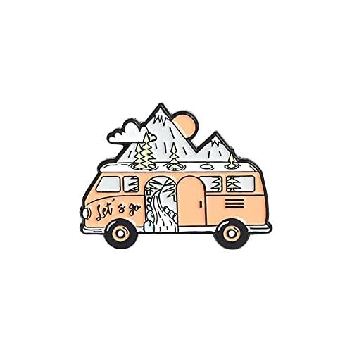 Go Camping Emaille-Anstecknadeln, Motiv: Bergmond, Zelt, Wohnmobil-Brosche, Hemd, Abzeichen, Tasche, Outdoor, Schmuck, Geschenk für Kinder und Freunde
