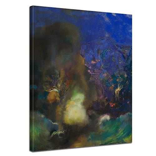 Bilderdepot24 Leinwandbild Odilon Redon Roger befreit Angelika - 90x120cm hochkant - aufgespannt auf einen Galerie Keilrahmen - Echtholz
