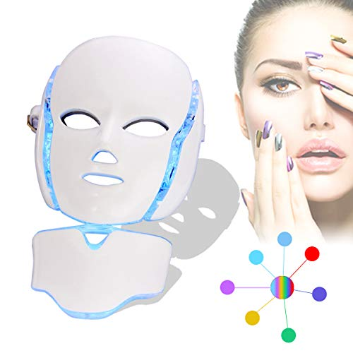 7 Color LED Mask, BeautyHuoLian Facial Mask LED Light Therapy Skin Rejuvenation 7 Color PDT Photon Facial Skin Care Mask With Neck Care Portable SPA Face LED Mask, White