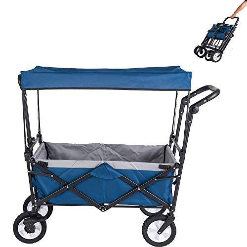 Amazon Brand - Umi Bollerwagen mit Dach Transportwagen Ausziehbarer Griff Handwagen Transportkarre Faltbar Gartenwagen Gerätewagen 361°Drehbar (Blau)