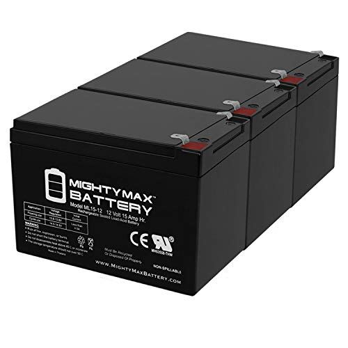 Mighty Max Battery 12V 15AH F2 Replaces Razor 15165070 MX650 Dirt Rocket - 3 Pack Brand Product