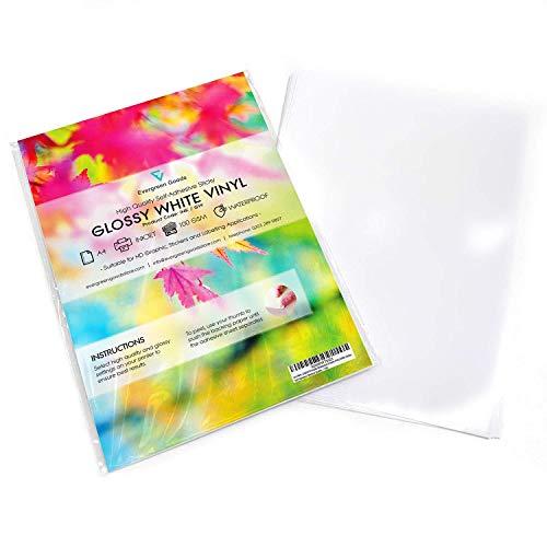 10fogli autoadesivi impermeabili, in vinile (PVC) di alta qualità, in formato A4, colore bianco opaco, compatibili con stampa laser o a getto d'inchiostro