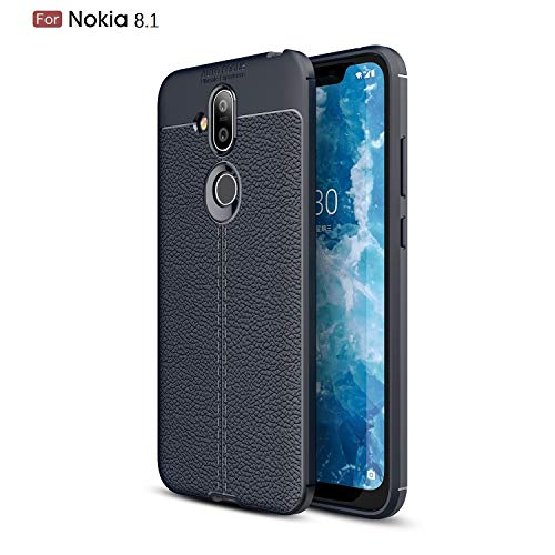 CruzerLite Nokia 8.1 Custodia, Flexible Slim Case with Leather Texture Grip Pattern And Shock Absorption TPU Cover for Nokia 8.1 (2018) (Blue)