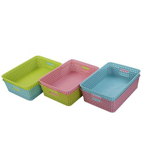 Ponpong Paniers en Plastique Tissé A4 pour Bureau Salle de Classe Cuisine, Bleu Clair Vert Clair Rose, 6 Paquets