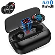 Bluetooth Headphones in Ear, Bluetooth 5.0 Earphones Matte Black CVC8.0 Noise Canceling Sports Headphones 126H Playtime with 3000mAh Charging Case Stereo Sound Voice Reminder