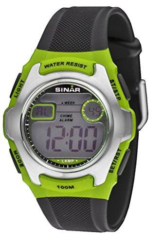 SINAR Jugenduhr Sportuhr Outdoor digital Quarz schwarz grün Silber 10 bar wasserdicht Licht XE-50-3
