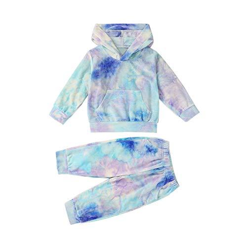 T TALENTBABY - Sudadera con capucha para recién nacido, manga larga, sudadera, pantalones y pantalones Azul y lila. 0/6 meses