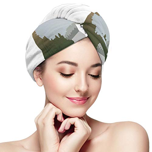 BATH LOVE Wild Animals of Canada Survival In The Wild Theme Hunting Camping Trip Outdoors Head Wraps for Women Shower Cap Anti-Frizz Absorbent Twist Drying Shower Towel Hat