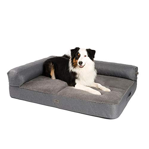JAMAXX Premium - Sofá 2 en 1 para perros, ortopédico, viscoelástico, acolchado extraíble, funda extraíble, forro polar suave o piel de cordero, color gris