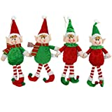 Athoinsu 4 PCS Christmas Elves Doll Pendants Hanging Ornaments Xmas Elf Boy Girl Holiday Decorations Gifts for Kids Family, 12''
