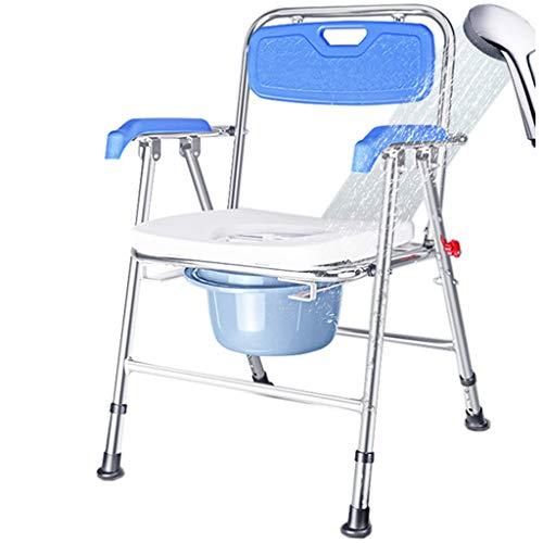 Silla cómoda de Altura Regulable médica, Silla de Ducha de Aluminio con Inodoro 100 kg de Capacidad 🔥
