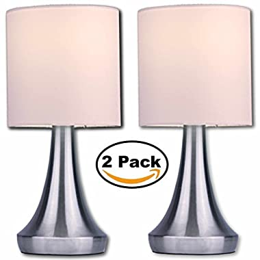 Light Accents Touch Table Lamp 13  Tall with 3-Stage Dimmer and White Fabric Drum Shade (2-Pack)