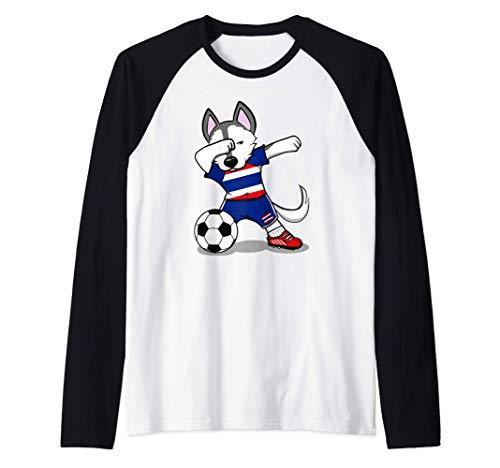 Dabbing Husky Dog Tailandia Fútbol - Bandera tailandesa Camiseta Manga Raglan