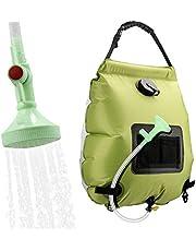 KIPIDA Ducha solar de camping de 20 litros con alcachofa e interruptor de encendido/apagado, ideal para la piscina, para exteriores, camping, senderismo