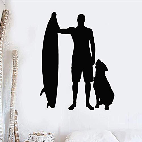 Pegatinas De Pared Calcomanías Papel Tapiz Silueta Tabla De Surf Surfista Perro Playa Deportes Ventana Vinilo Arte Dormitorio Sala De Estar Decoración Del Hogar 42X55 Cm