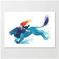 アートパネル ZXYFBH キャンバス絵画ブルーライオン絵プリント家の装飾漫画動物ポスターリビングルーム用クアドロスモジュラー15.7x19.7in(40x50cm)x1pcsフレームなし