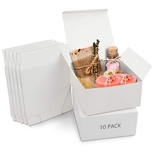 Belle Vous Boite Cadeau Blanc Kraft (Lot de 10) - Boite Cadeau Vide de 20 x 20 x 10 cm - Boite Carton Cadeau Emballage Facile à Assembler pour Fêtes, Anniversaires, Mariages, Fête des Pere, Événements