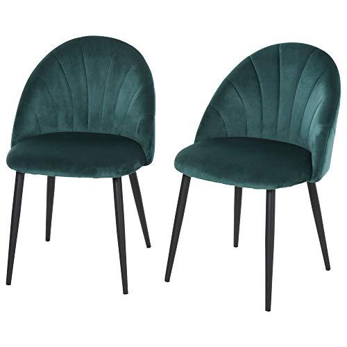 homcom Set 2 Sedie per Sala da Pranzo Imbottite, Poltroncine dal Design Nordico in Metallo e Velluto...