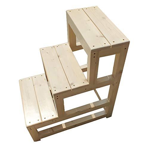 ZCJB Treppenhocker 3-Stufen Bibliotheksleiter Stuhl Holz Schlafzimmer Trittleiter, Anti-Rutsch-Fußstütze For Den Oldman-Schrank, 70 Cm Hoch Tritthocker (Size : 40×60×70cm)