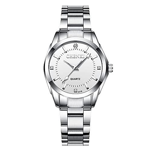 Reloj para Mujer Reloj de Pulsera CláSico De Negocios,Banda de Acero,Elegantes Relojes de Cuarzo de Acero Inoxidable(Blanco Plateado)