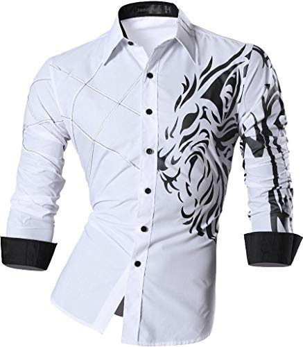 jeansian Camisas de Hombres Mangas Largas Moda Men Shirts Slim Fit Causal Long Sleves Fashion Z030 White XXL