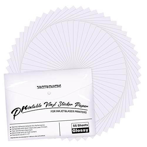 Premium Printable Vinyl Sticker Paper - for Inkjet and Laser Printer - 55 Pack...