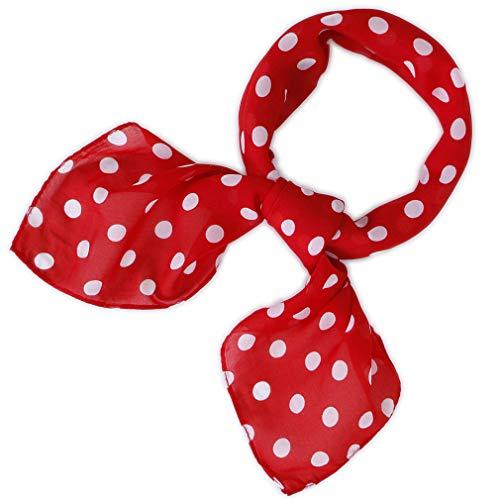 LMVERNA Square Handkerchief Chiffon Scarf for Women Polka Dot Ribbon Scarves 27 by 27 Inch (Chiffon Dot-Red)