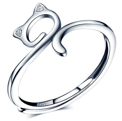 CPSLOVE Anillo de mujer niña, anillo de plata de ley 925, Anillos lindo gatito, circón con incrustaciones, anillo abierto, tamaño ajustable, anillo de bodas, Circunferencia de dedo adecuada:48,5-57mm