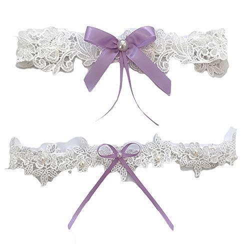 Bride Garter Legs Belt Flower Floral Garter Lace Leaf Garter for Wedding Bridal JW26 (Lavender Bow)