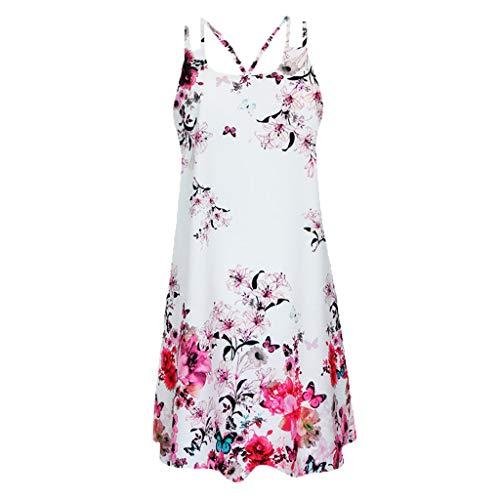 Janly Clearance Sale Vestidos para mujer, vintage, bohemio, verano, sin mangas, estampado de playa, vestido corto, sin mangas, para bodas diarias, hot pink, 4XL