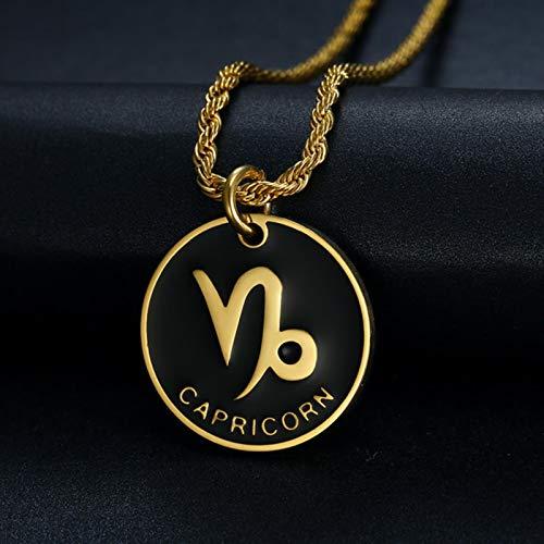 Collar con Colgante de 12 Constelaciones de Signo del Zodiaco para Mujeres, Hombres, Color Dorado, Acero Inoxidable, joyería de Moda