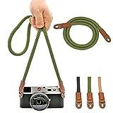 Universale tracolla fotocamera Fatto a mano Cotone cinghia reflex per Leica Canon Nikon Fuji Olympus Lumix Sony,Verde scuro.